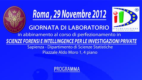 Appuntamento del 29 novembre: Scienze Forensi e Intelligence per le investigazioni private